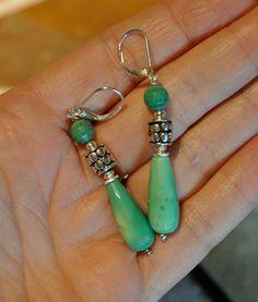 Green Opal and Sterling Silver Earrings by EvyDaywear on Etsy, $24.00