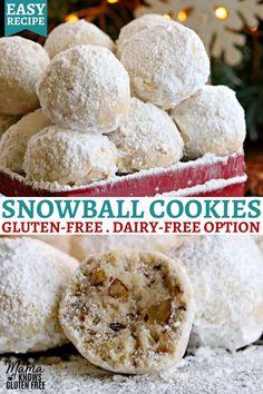 Dairy Free Christmas Recipes, Gluten Free Christmas Cookies, Dairy Free Cookies, Easy Christmas Cookie Recipes, Gluten Free Cookie Recipes, Gluten Free Sweets, Gluten Free Baking, Gluten Free Deserts Easy, Dairy Free Truffles