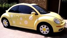 Christy - Texas 'I love them! It's too cute!' Yellow vw with White daises decals. beetle accessories ideas Daisy decals and stickers for your Volkswagen Beetle, Scooter or . Car Volkswagen, Vw Cars, Volkswagen Transporter, Vw Camper, Audi R8 V10, Yellow Car, Mellow Yellow, Vans Vw, Vw Beetle Convertible