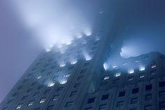 Downtown Manhattan Fog by Anton Repponen Magnum Opus, Arte Cyberpunk, The Villain, Blue Aesthetic, Night Aesthetic, City Aesthetic, Story Inspiration, Urban Landscape, Neon Lighting