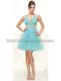 Cheap Glamorous A-line V-neck Satin Homecoming Dresses