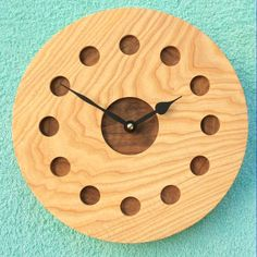 Ash Wall Clock with Inlaid Walnut