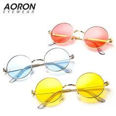1afcf06b40 Ocean candy color Tinted lens Pink Blue Steampunk Unisex Sunglasses Men  Women Eyeglasses Round Brand Designer