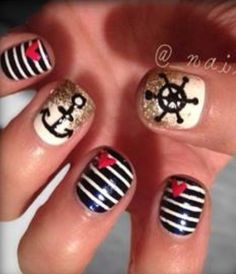 Nautical Summer nails. . Just the thumb and ring finger!