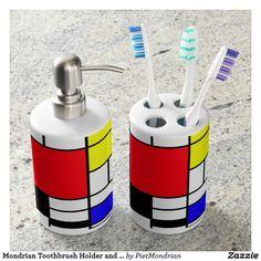 Mondrian Toothbrush Holder and Soap Dispenser Set