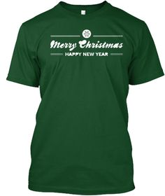 Merry Christmas Happy New Year Wish Deep Forest T-Shirt Front