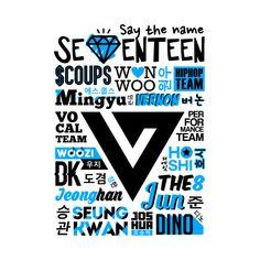 Shop SEVENTEEN Collage korean t-shirts designed by skeletonvenus as well as other korean merchandise at TeePublic. Seventeen Song, Carat Seventeen, Mingyu Seventeen, Diecisiete Wonwoo, Woozi, Jeonghan, K Pop, Kpop Logos, Korean Language Learning
