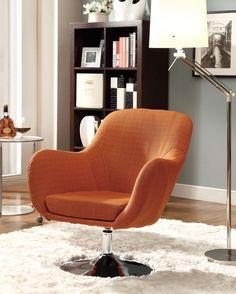 Retro Orange Fabric Metal Swivel Accent Chair