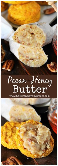 Pecan-Honey Butter Add a little special touch to fall and holiday biscuits and breads with this easy-to-make flavored butter. Whip it up with just three simple ingredients! Flavored Butter, Butter Pecan, Herb Butter, Butter Bar, Homemade Spices, Homemade Butter, Butter Spread, Canning Recipes, Relleno