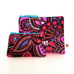 Zipper pouch and coin purse made from up cycled vintage fabric by Little General Design