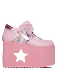 Shine bright and be a star! Rock it with our Fight Like A Girl Baseball Bomber. - Pink vegan leather, pink hologram, and Little Twin Stars® printed upper - Pink EVA platform - Pastel star tongue glitt
