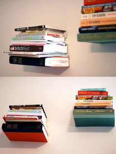 """Simple DIY project for really cool """"invisible bookshelves"""""""