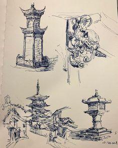"Joy Liu on Instagram: ""Inktober 🧐 ⛩ 🖋 #scribbles #inktober #perspectivepain  #acient  #pendrawing #asadclaw #scribble #ink#urbansketch #drawing_expression"" Drawing Expressions, Scribble, Interesting Stuff, Inktober, Joy, Instagram, Glee, Doodles, Being Happy"