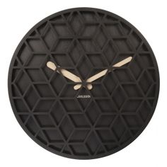 Karlsson Discrete Geometric Cut Out Front Black Wood 36cm Wall Clock