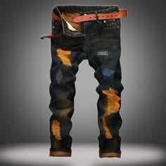 26.33$  Watch now - https://alitems.com/g/1e8d114494b01f4c715516525dc3e8/?i=5&ulp=https%3A%2F%2Fwww.aliexpress.com%2Fitem%2F2016-male-straight-leg-denim-trousers-fashion-Ripped-Jeans-mens-business-jean-pants-black-casual-jeans%2F32776394094.html - 2016 male straight leg denim trousers fashion Ripped Jeans mens business jean pants black casual jeans men Retro Trousers 26.33$
