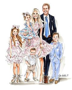 Family Portraits in full swing this week!{Featuring Custom Portrait Art for and all her sweethearts 💙🌸💙} Dressy Attire, Solid Background, Art Template, Full Figured, Custom Art, Portrait Art, Art Reproductions, Fashion Sketches, Family Portraits