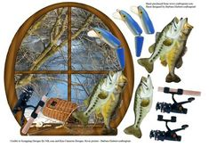 River Window Bass Fishing with decoupage on Craftsuprint designed by Barbara Hiebert - This is a scenic picture of a river in a window with freshly caught bass fish.You have a choice of cutting the card out in the window shape, or to just mount the window on your square card as a topper. - Now available for download!