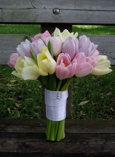 #pastel tulips bridal bouquet ... Wedding ideas for brides, grooms, parents & planners ... https://itunes.apple.com/us/app/the-gold-wedding-planner/id498112599?ls=1=8 … plus how to organise an entire wedding ♥ The Gold Wedding Planner iPhone App ♥ http://pinterest.com/groomsandbrides/boards/