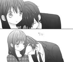 Cute anime couple resting on shoulders. My note: I really like Taiyou no ie. I'm practically sitting on the edge of my seat waiting for the next few chapters..