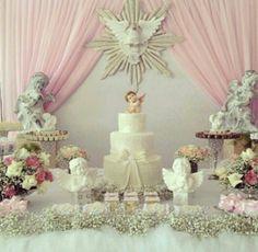 Bautizo Baptism Party Decorations, First Communion Decorations, First Communion Party, Baptism Centerpieces, Fiesta Decorations, Christening Cake Girls, Baby Girl Baptism, Baby Girl Birthday, Angel Baby Shower