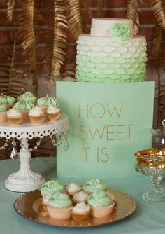 Mint and gold dessert display with gold spray painted hanging fern fronds.  {Honey Crumb Cake Studio + Spirit Cupcakes + BUTTER design lab.}