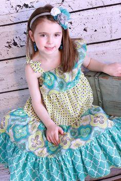 Maxi Shoulder Ruffle Turquoise Dress by SugarBabyBow on Etsy