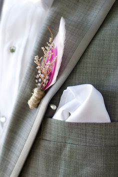 Woodland boutonniere, except blue and yellow of course :)