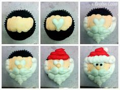 Santa Cupcakes from Avalon Cakes. She used Wilton tip So talented. Holiday Cakes, Christmas Desserts, Holiday Treats, Christmas Treats, Christmas Cakes, Father Christmas, Xmas, Christmas Goodies, Santa Cupcakes