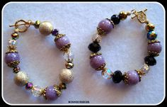 The lavender beads in these bracelets are made with translucent clay and crushed rose petals. I call them Memory Beads since they are made from the petals from a friend's funeral.
