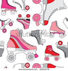 Seamless retro disco roller skates derby background pattern in vector