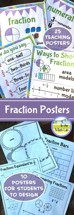Nice visuals for fraction concepts and vocabulary. Students design posters to show their understanding.
