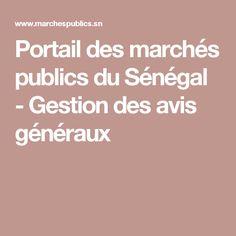 Portail des marchés publics du Sénégal - Gestion des avis généraux