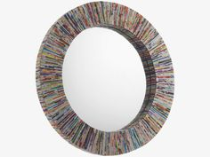 COHEN MULTI-COLOURED Recycled magazines Recycled magazine round wall mirror - HabitatUK