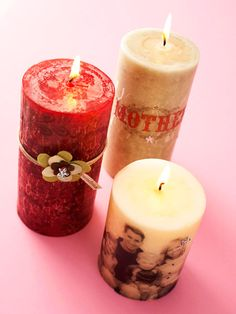 Photo-Embellished Candles            Turn ordinary candles into shining stars with family photos and embellishments. Print photos or digital designs onto tissue paper; cut out. Wrap the candles with the tissue paper, securing with straight pins. A heat gun will melt the wax until it saturates and coats the tissue paper. Secure the flowers to the candle using a brad.