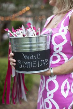Ribbon wands for guests to wave during first kiss or recessional at wedding ceremony