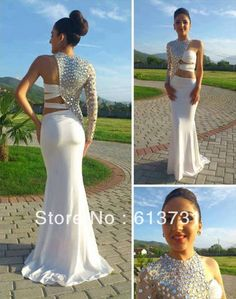 2013 New Fashion Long Sleeves Mermaid Floor Length Transparent Women Evening Dresses Long with crystal White Prom dresses BO1127