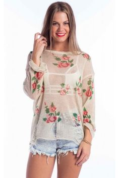 This sheer gold beige sweater has the beautiful floral design. It features  full length f569ce241d6
