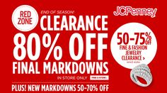 Online Only! Red Zone Clearance 80% #Off Final Markdowns plus new markdowns 50-75% #Off.  Store : #JCPENNEY Scope: Entire Store  Ends On : 01/24/2017    Get more deals: http://www.geoqpons.com/JCPenney-coupon-codes  Get our Android mobile App: https://play.google.com/store/apps/details?id=com.mm.views    Get our iOS mobile App: https://itunes.apple.com/us/app/geoqpons-local-coupons-discounts/id397729759?mt=8