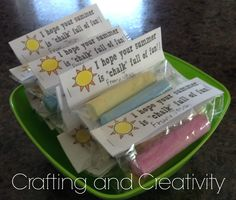 """Crafting and Creativity: 'I hope your summer is """"chalk"""" full of fun!' -C… Crafting and Creativity: 'I hope your summer is """"chalk"""" full of fun!' -Classmate/Classroom Year- End Gifts End Of Year Party, End Of School Year, School Treats, School Gifts, School Stuff, Classmate Gifts End Of Year, Teacher Appreciation Gifts, Teacher Gifts, Preschool Graduation Gifts"""