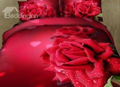 l Gorgeous Red Roses and Waterdrops Print 4 Piece Duvet Cover Sets