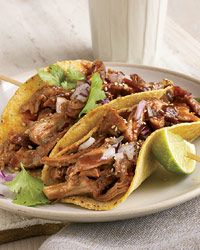 "Beer-Braised Turkey Tacos.   Skinless turkey thighs and drumsticks are packed with flavor; they're also low in fat and high in protein and essential minerals like selenium. Deborah Schneider braises the meat in beer until ultratender, then shreds it for tacos. ""It's also fabulous in a sandwich,"""