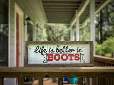 Excited to share this item from my shop: Life is Better in Boots Pallet Wood Farmstyle Sign Reclaimed Wood Wall Art, Pallet Wood, Wood Pallets, Hand Painted Signs, Rustic Signs, Wood Projects, Life Is Good, My Etsy Shop, Good Things