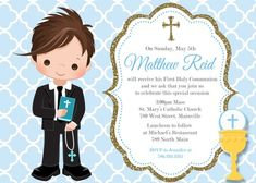 First Communion Invitation, Boy, Blue, Gold, Any Hair Color - Printable or Printed Create Invitations, Digital Invitations, First Communion Invitations, First Holy Communion, How To Make Notes, Boy Blue, For Your Party, Personal Photo, Confirmation