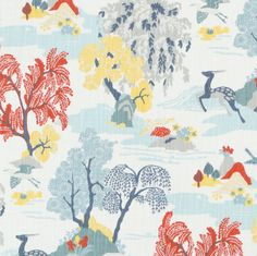 A new Robert Allen design just released for 2016, this whimsical toile fabric has beautiful colours. Perfect for drapery, curtains, pillows, most any home decor
