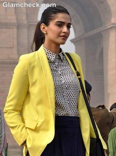 Sonam Kapoor style 2013 Wearing Blazer with Cropped Pants
