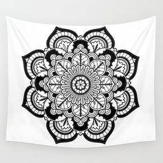 Black and White Flower Wall Tapestry Magenta Walls, Energy Symbols, Down Pillows, Throw Pillows, Duvet, Framed Prints, Art Prints, Leggings, Flower Wall