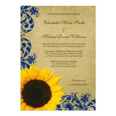 Rustic Sunflower Blue Swirls Wedding Announcements. Slightly less obnoxious sunflower, but otherwise, it's cute