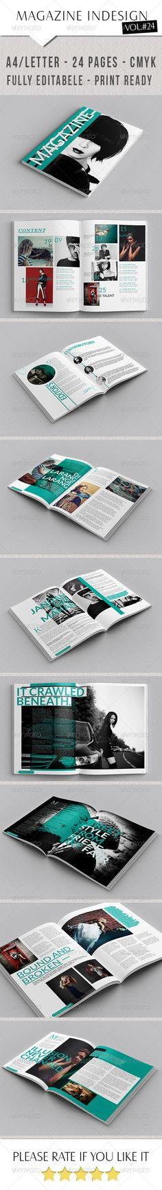 Creative Magazine Template 2 by siomipan  Creative Magazine Template 2This is a professional and clean grunge InDesign magazine template that can be used for any type o