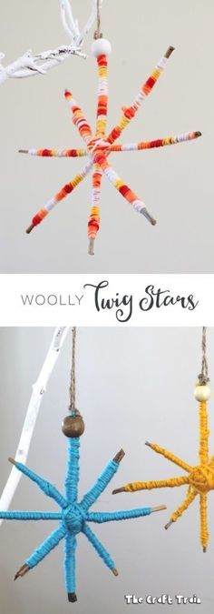 Woolly Twig Stars, a Christmas decorations craft for kids - Christmas Ideas Christmas Ornament Crafts, Christmas Crafts For Kids, Simple Christmas, Holiday Crafts, Star Ornament, Christmas Christmas, Twig Crafts, Nature Crafts, Yarn Crafts