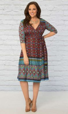 Plus Size Beguiling Border Wrap Dress A classic wrap cocktail dress in a bold print is just what any wardrobe needs SHOP www.curvaliciousclothes.com